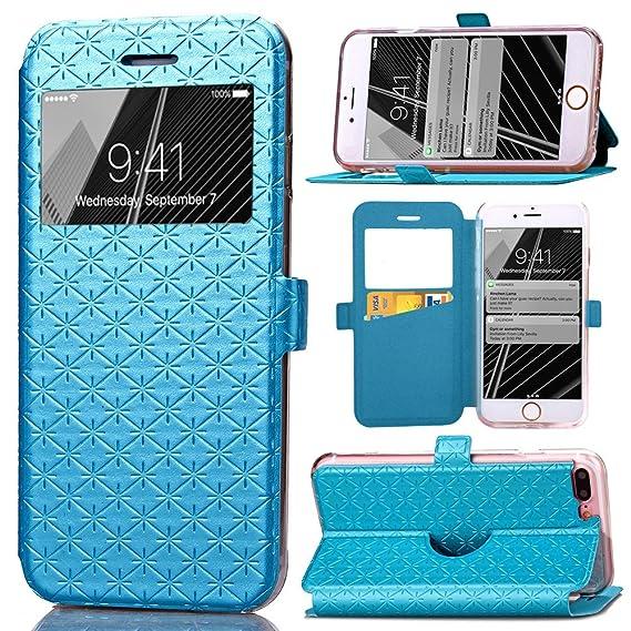 sale retailer 6b2c6 103a4 iPhone 8 Plus Case, iPhone 7 Plus Case, ArtMine Quilted Plain Color Window  View Function PU Leather Flip Folio Wallet Phone Case for Apple iPhone 7 ...