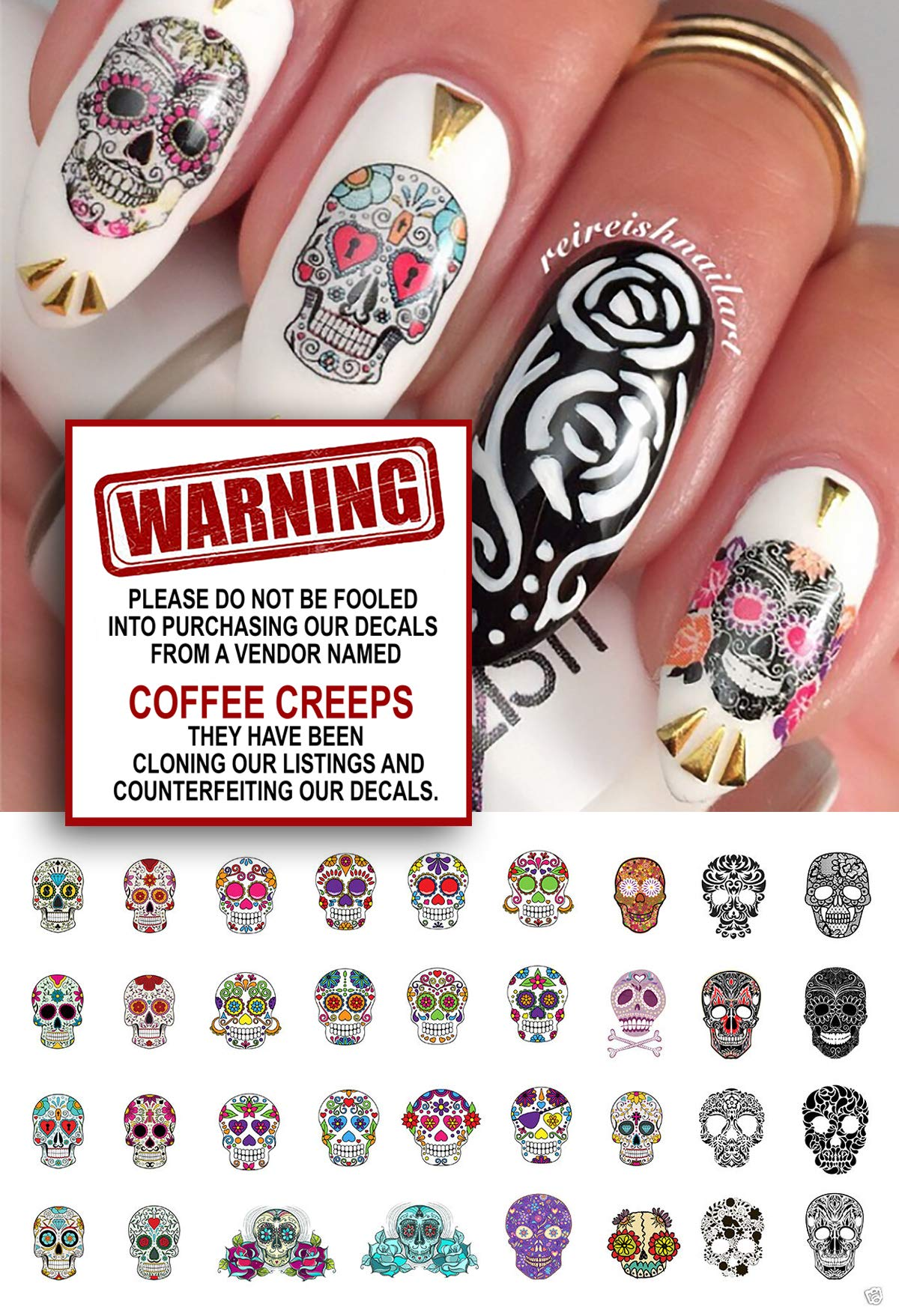 Amazon Sugar Skull Nail Decals Assortment 1 Water Slide Nail