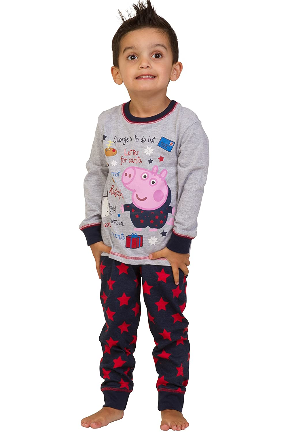 ThePyjamaFactory Boy's George Pig Long Christmas Present Pyjamas 1-5 Years Brand New with All Tags Ideal Present