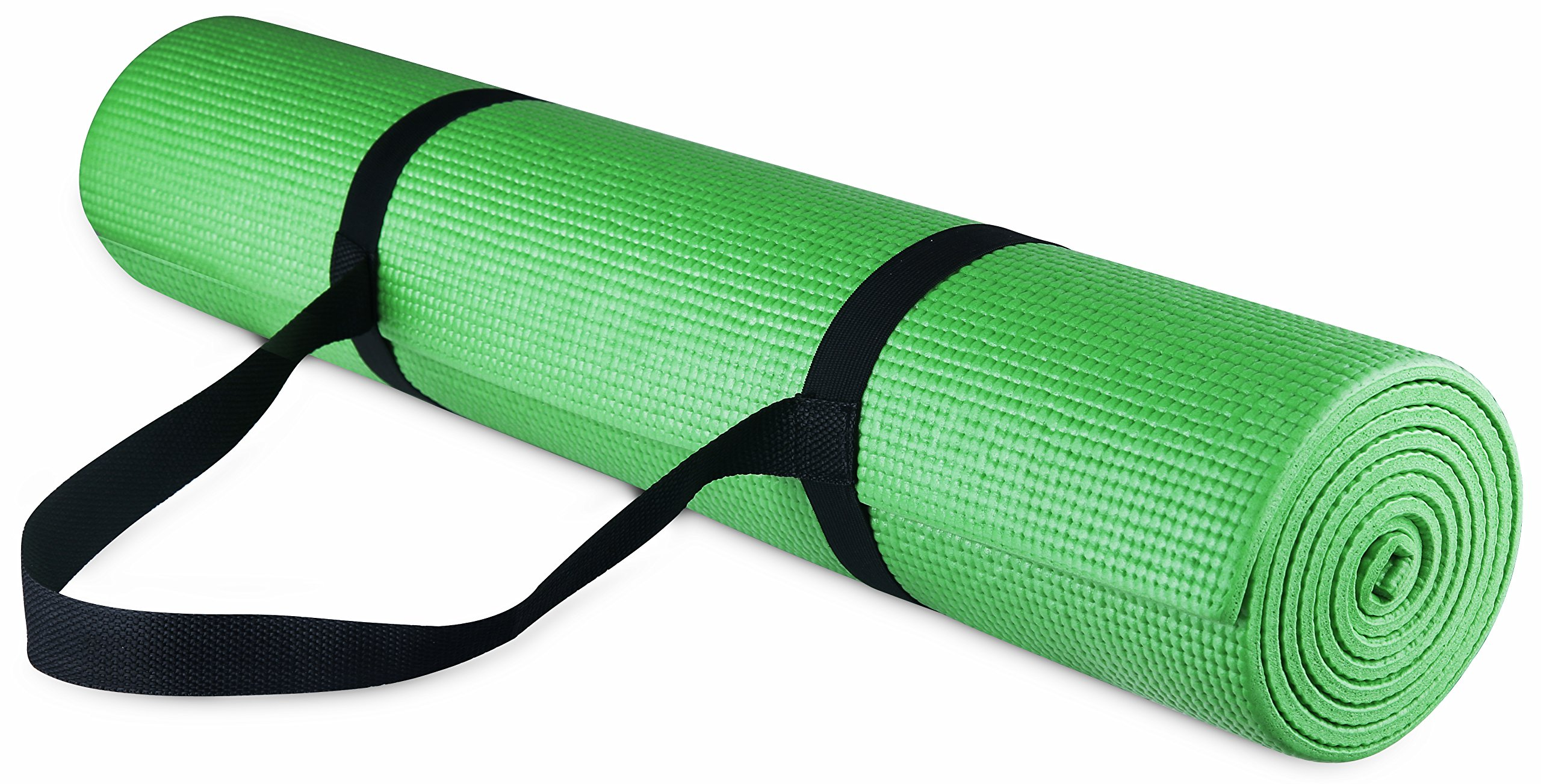 BalanceFrom GoYoga All Purpose High Density Non-Slip Exercise Yoga Mat with Carrying Strap, 1/4'', Green by BalanceFrom