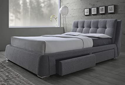 Amazoncom New Modern Tufted Gray Fabric Standard King Size