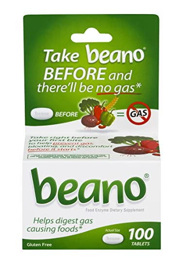 Beano Food Enzyme Dietary Supplement | Help Digest Gas-Causing Foods | 100 Tablets |
