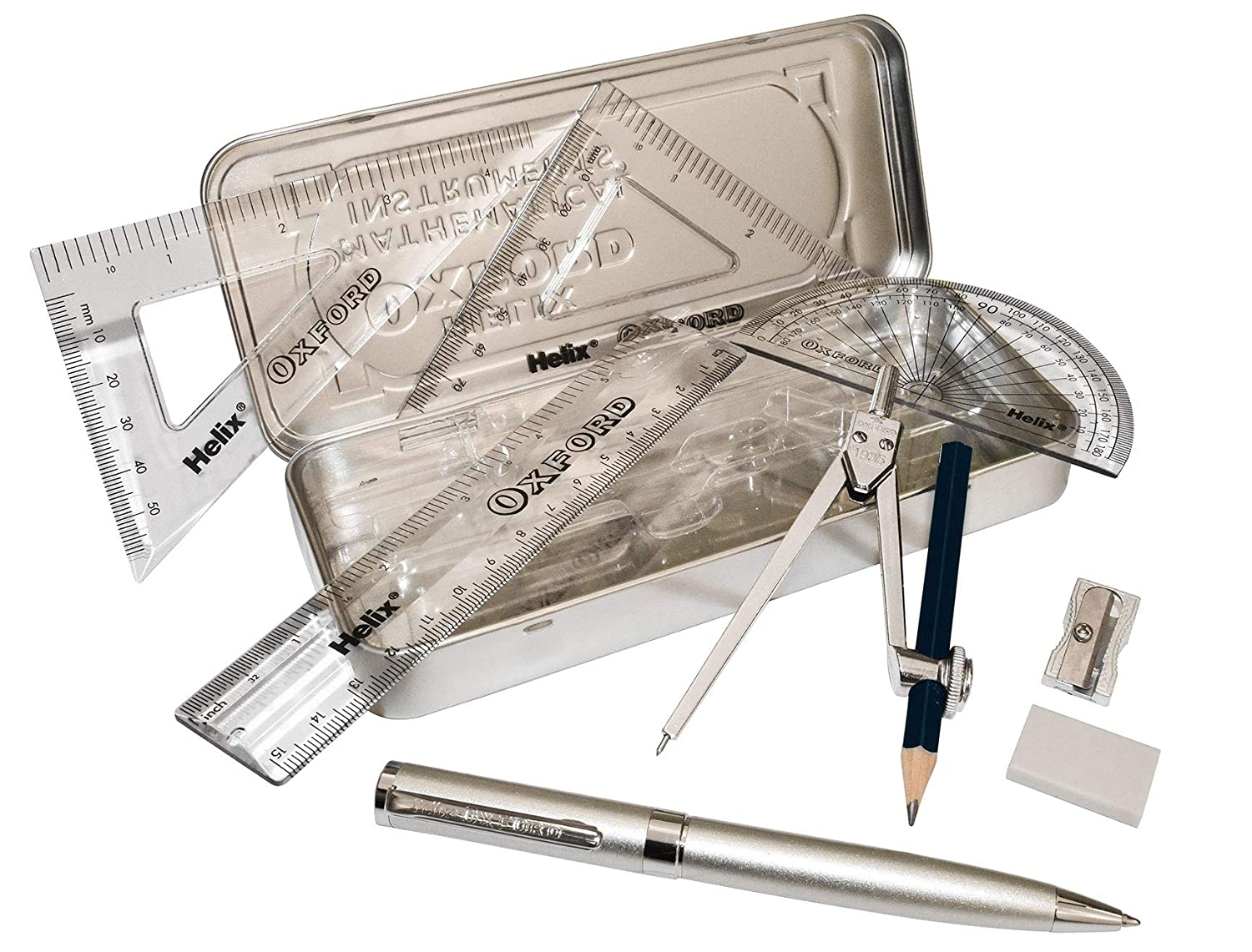 Helix Oxford Metallics Silver Maths Set with Premium Ball Point Pen