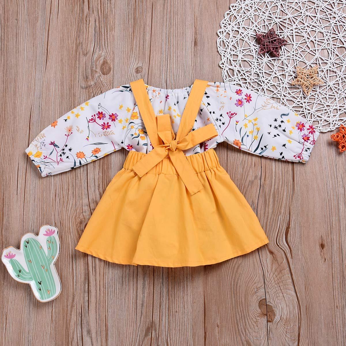 Baby Girl Romper Newborn Girls Floral Long Sleeve Bodysuit Golden Skirt Outfit Set