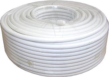 SAC Electronics Cable satélite de cobre, 50 m, RG6 – Blanco