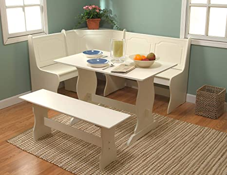 Target Marketing Systems 3 Piece Breakfast Nook Dining Set with a L-Shaped  Storage Bench and a Trestle Style Dining Table and Bench, Antique White