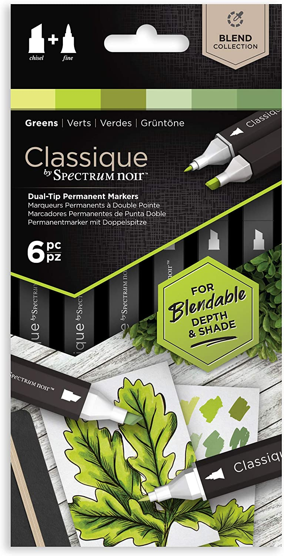 Spectrum Noir Classique Blend Alcohol Marker Dual Nib Pens Set-Greens-Pack of 6