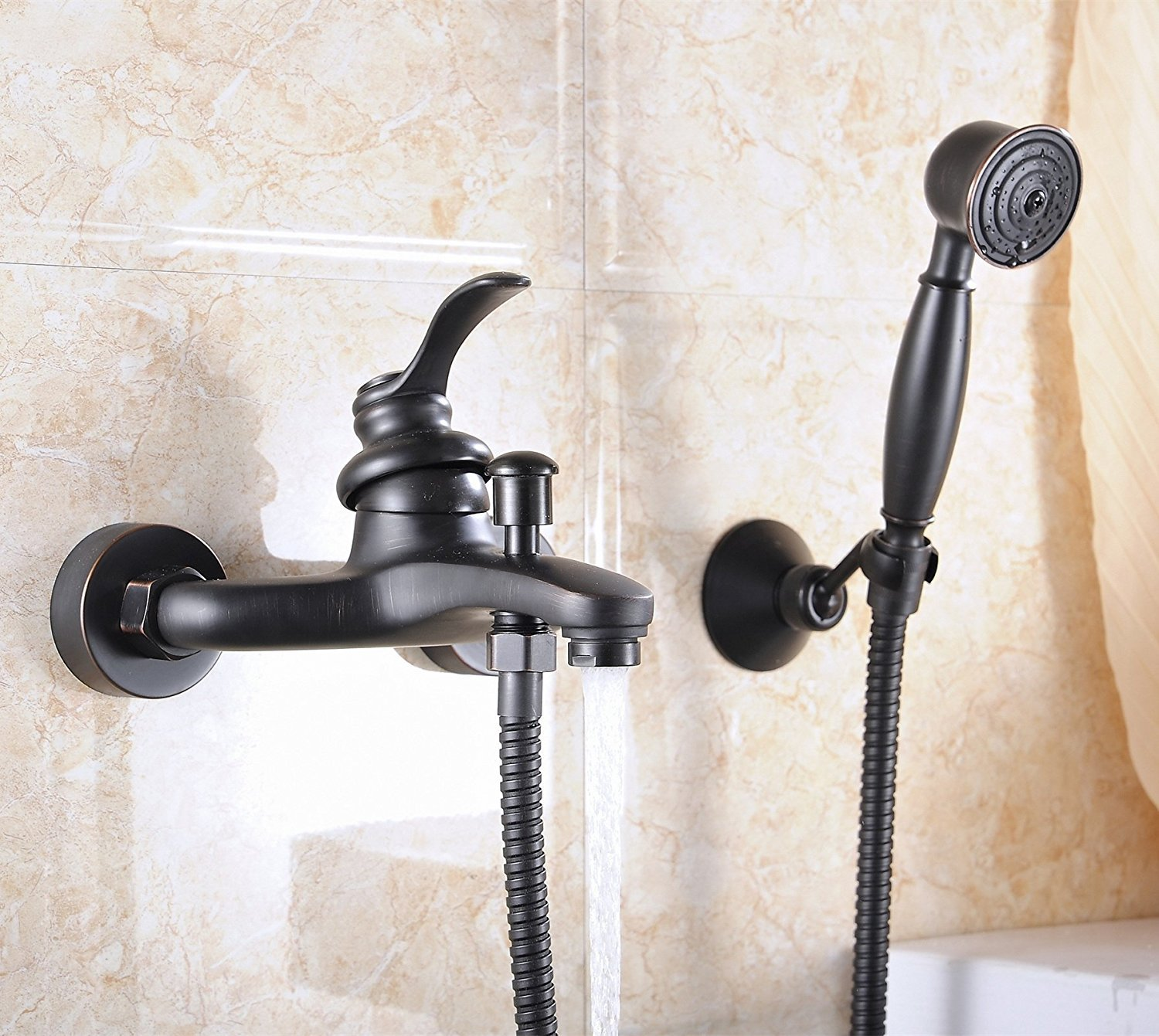 Sprinkle Oil-rubbed bronze bathroom bathtub faucet Wall-mount Two Handles Bathtub Faucet with Hand Shower Spray by Sprinkle