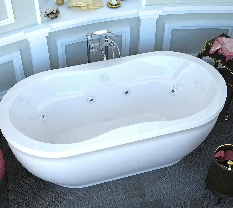 Spa World Venzi Vz3471aw Velia Oval Whirlpool Bathtub, 34x71, Center ...