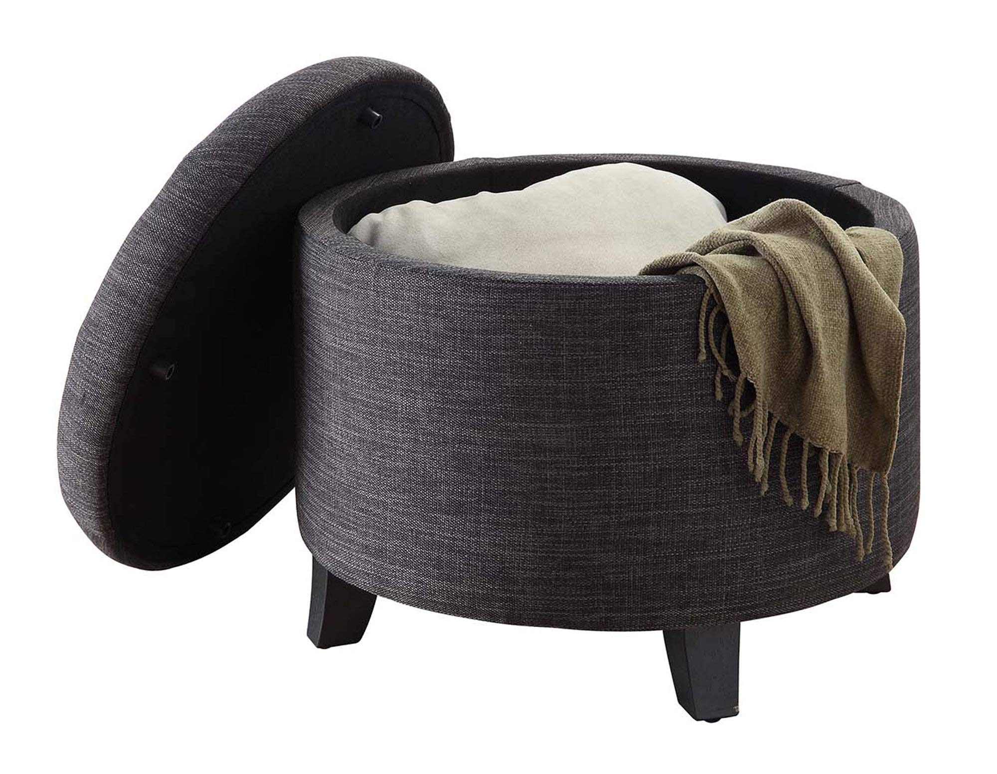 Convenience Concepts Designs4Comfort Round Ottoman Gray Fabric by Convenience Concepts