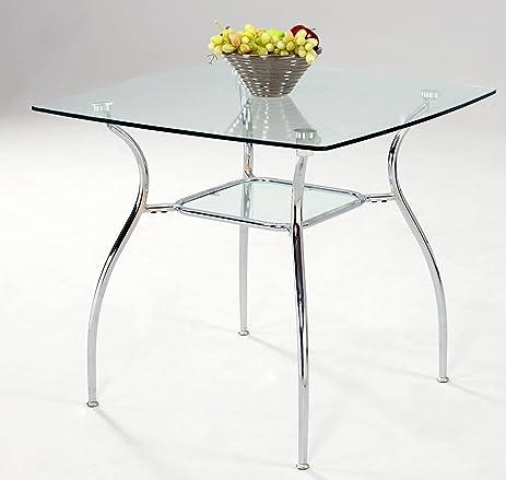Amazon milan dahlia dt clearchrome square glass dining table milan dahlia dt clearchrome square glass dining table watchthetrailerfo