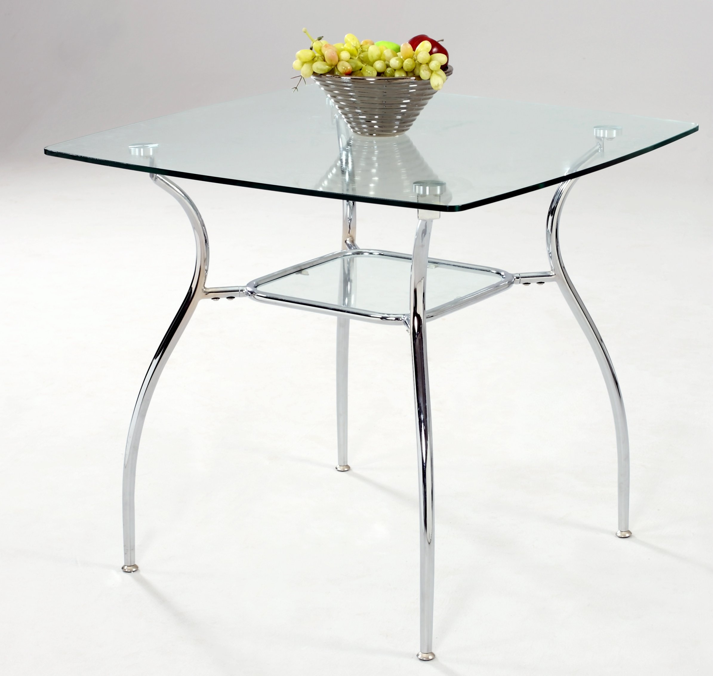 Milan Dahlia-DT Clear/Chrome Square Glass Dining Table