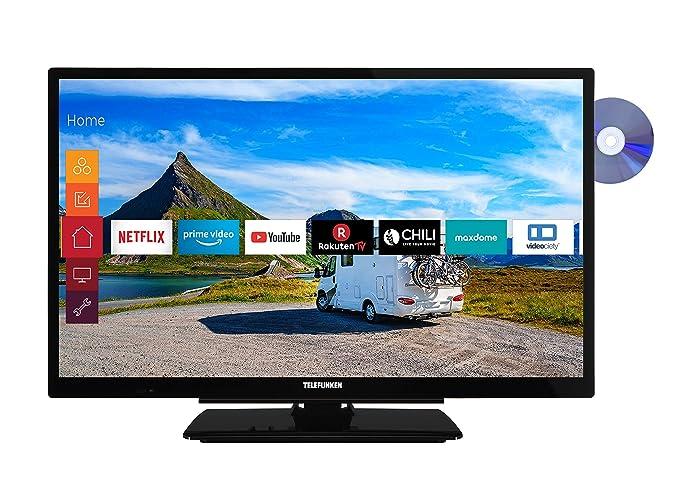 Telefunken XH24G501VD 61 cm (24 Zoll) Fernseher (HD-ready, Triple Tuner, Smart TV, Prime Video, DVD-Player integriert, 12 Vol