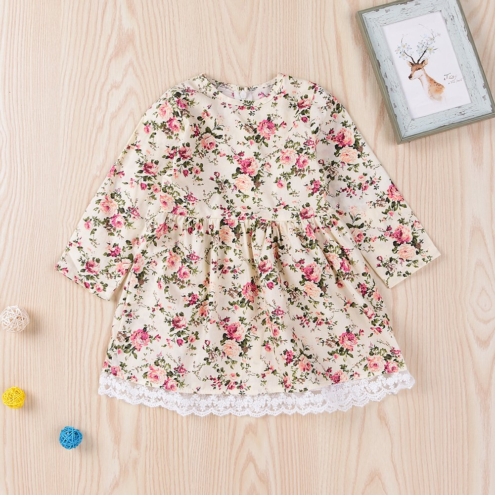 Happy Town Baby Girls Dress Cute Floral Printed Lace Long Sleeve Mini Dress