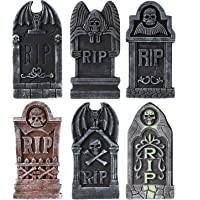 MoonLa Halloween Decorations Graveyard Tombstones (6 Pack), Foam RIP Yard Signs Headstone Decorations with 12 Bonus…