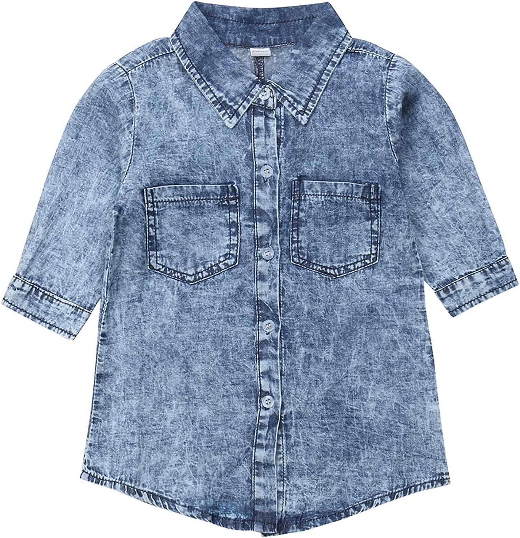 1-6T Kids Baby Girl One Piece Denim Blue Blouse Dress Tops Long Sleeve Denim Jacket with Pocket Children Clothes