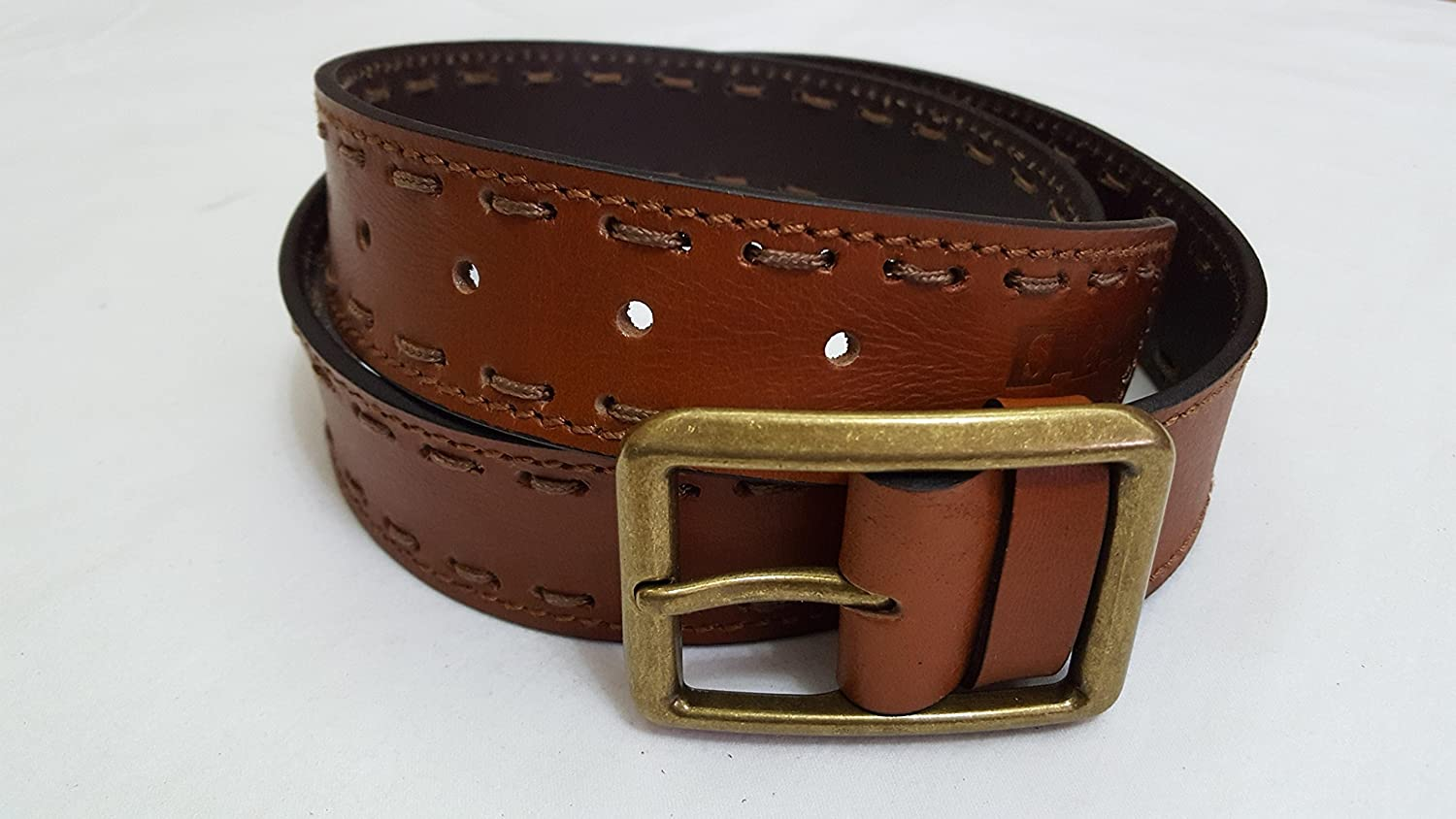 Men Brown Medium (Size 34) leather belt with Classic Brass Buckle - S & S