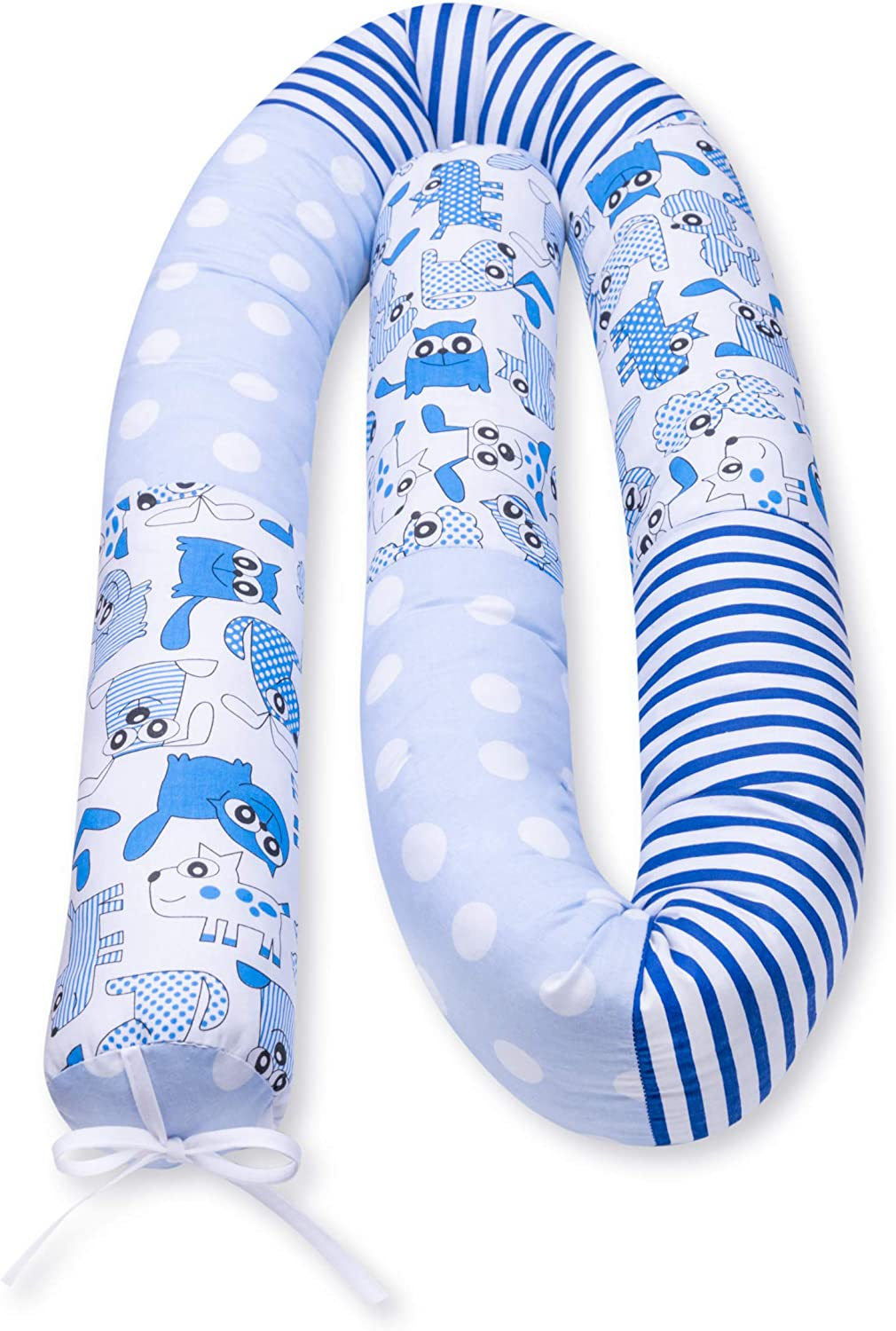 Amilian Bed Snake Cot Bumper Snake for Cot Bed Bumper Head Protector for Baby Bed Roll 210 cm Available in Many Designs