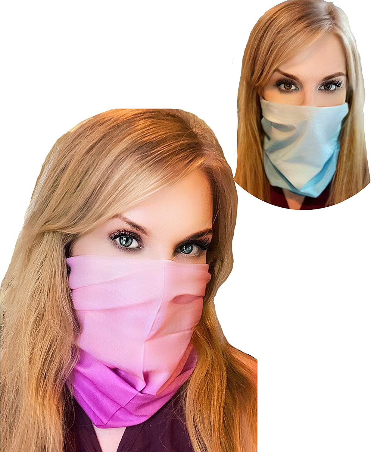 2 Pack Cooling Summer Face & Neck Gaiter, Breathable and Washable, Sun Protection for Any Outdoor Activity, Soft to The Skin for Face, Scarf Face Cover, Bandana Half mask.Balaclava Light Blue, Pink