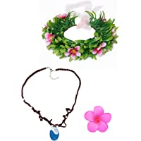 Muababy girls moana necklace with Hawaii flowers (necklace with headband for Girl)