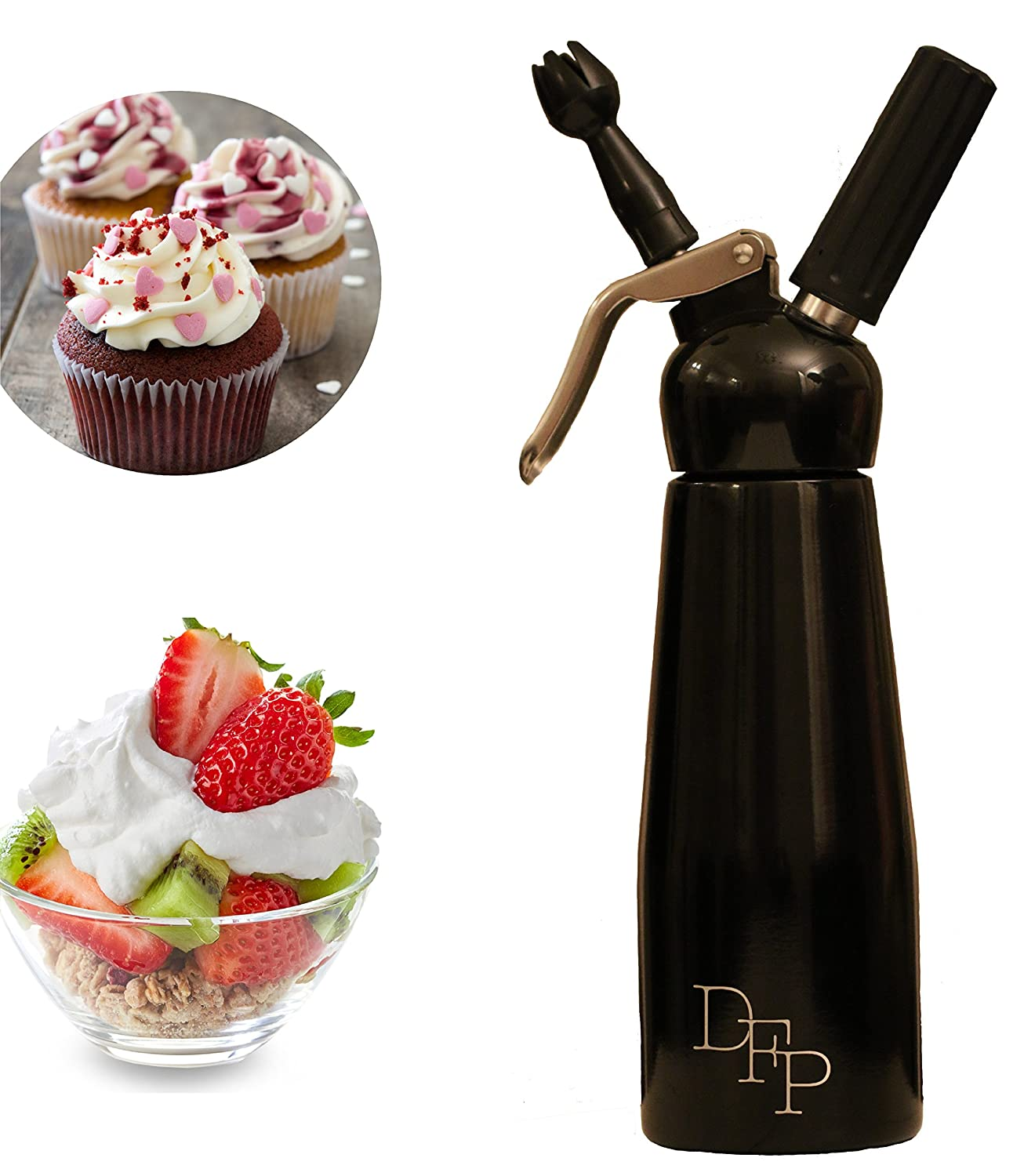DFP Whipped Cream Dispenser; Mousse Siphon, with 3 Decorating Nozzles 500ml - Sleek Black Hangzhou Wosheng Machinery