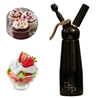 DFP Whipped Cream Dispenser; Mousse Siphon, with 3 Decorating Nozzles 500ml - Sleek Black