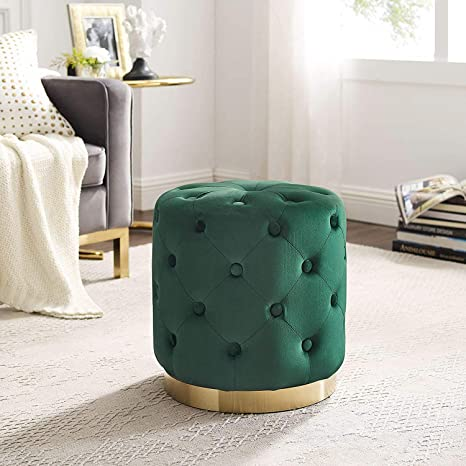 Astonishing Art Leon Velvet Ottoman Button Tufted Upholstered Small Round Vanity Stool Ottoman Foot Rest With Gold Plating Base For Bedroom Living Pdpeps Interior Chair Design Pdpepsorg