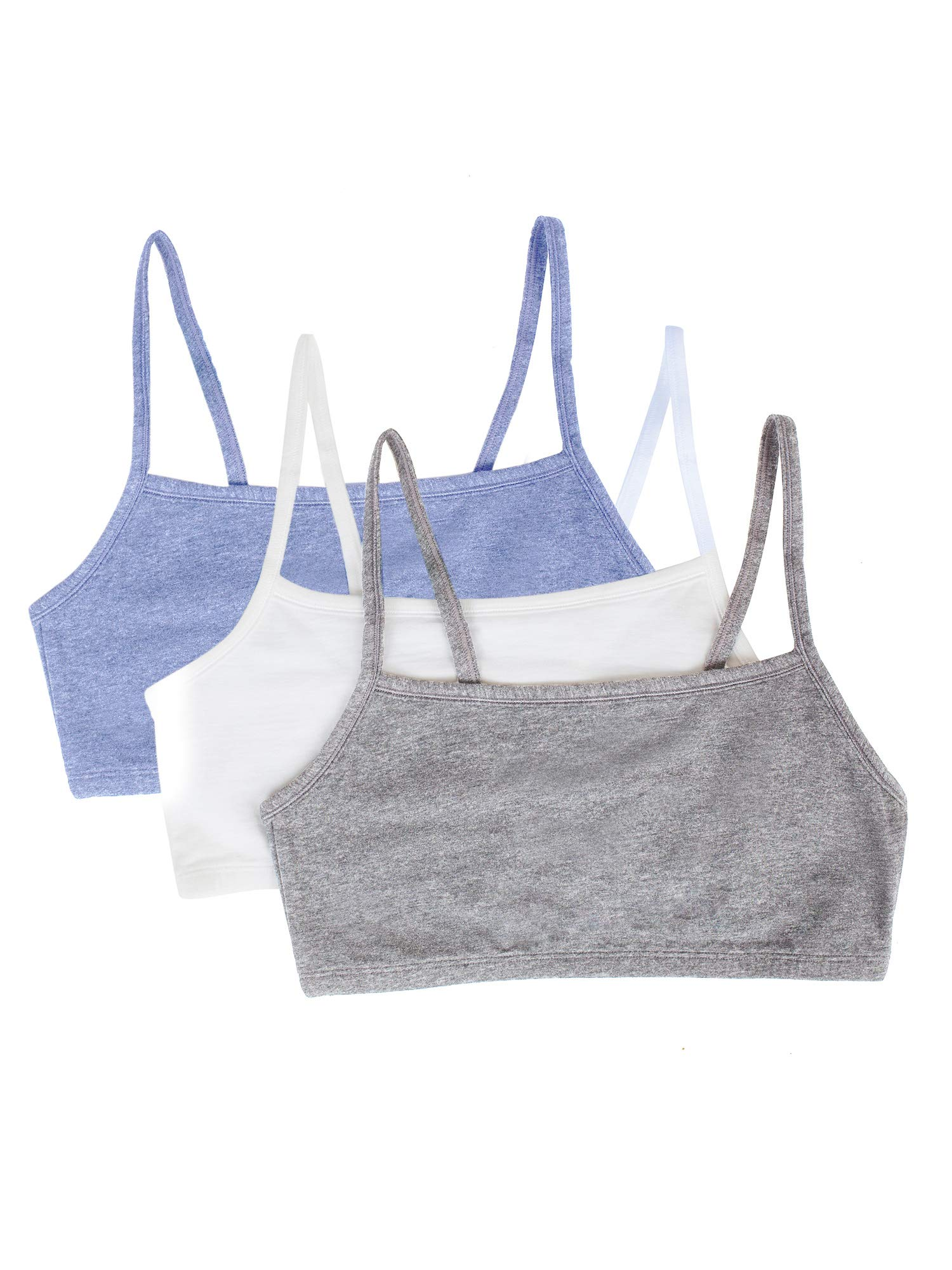 Fruit of the Loom womens Cotton Pullover Sport Bra, heather grey/white/heather blue 32