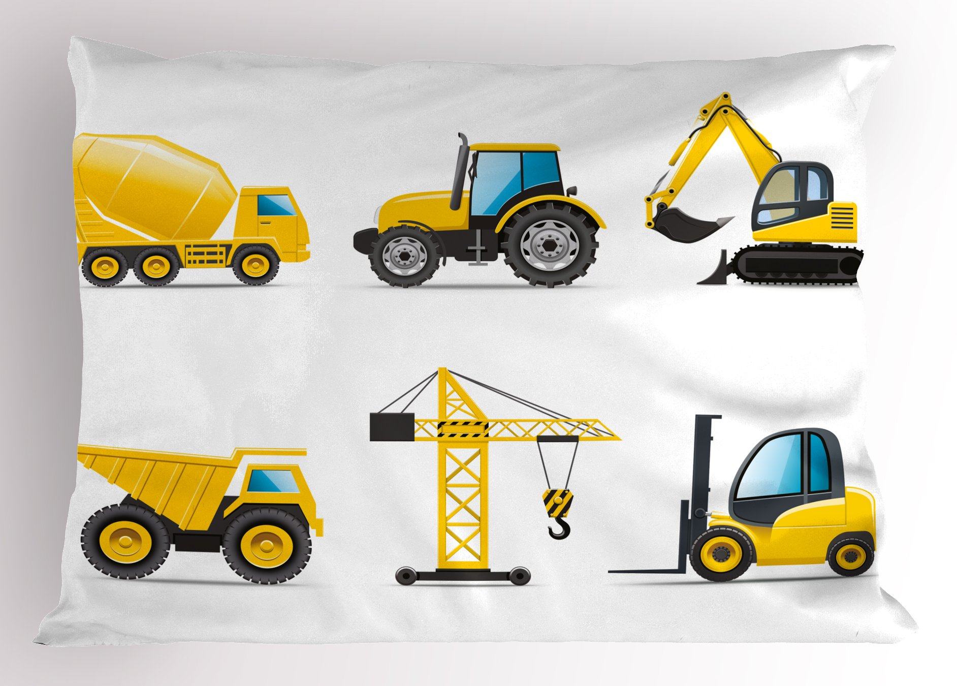 Lunarable Nursery Pillow Sham, Cartoon Style Heavy Machinery Truck Crane Digger Mixer Tractor Construction, Decorative Standard Size Printed Pillowcase, 26'' X 20'', Yellow Grey by Lunarable