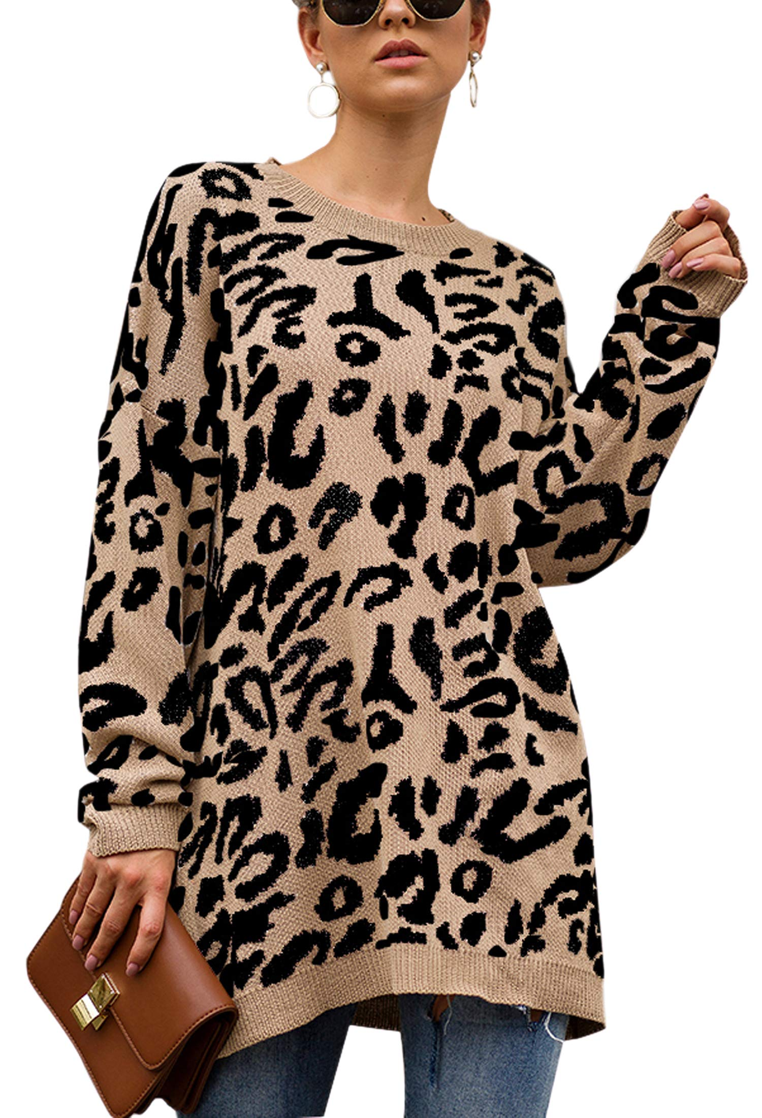 New Ladies Womens Leopard Print Long Sleeve Knitted Pullover Sweater Jumper Top