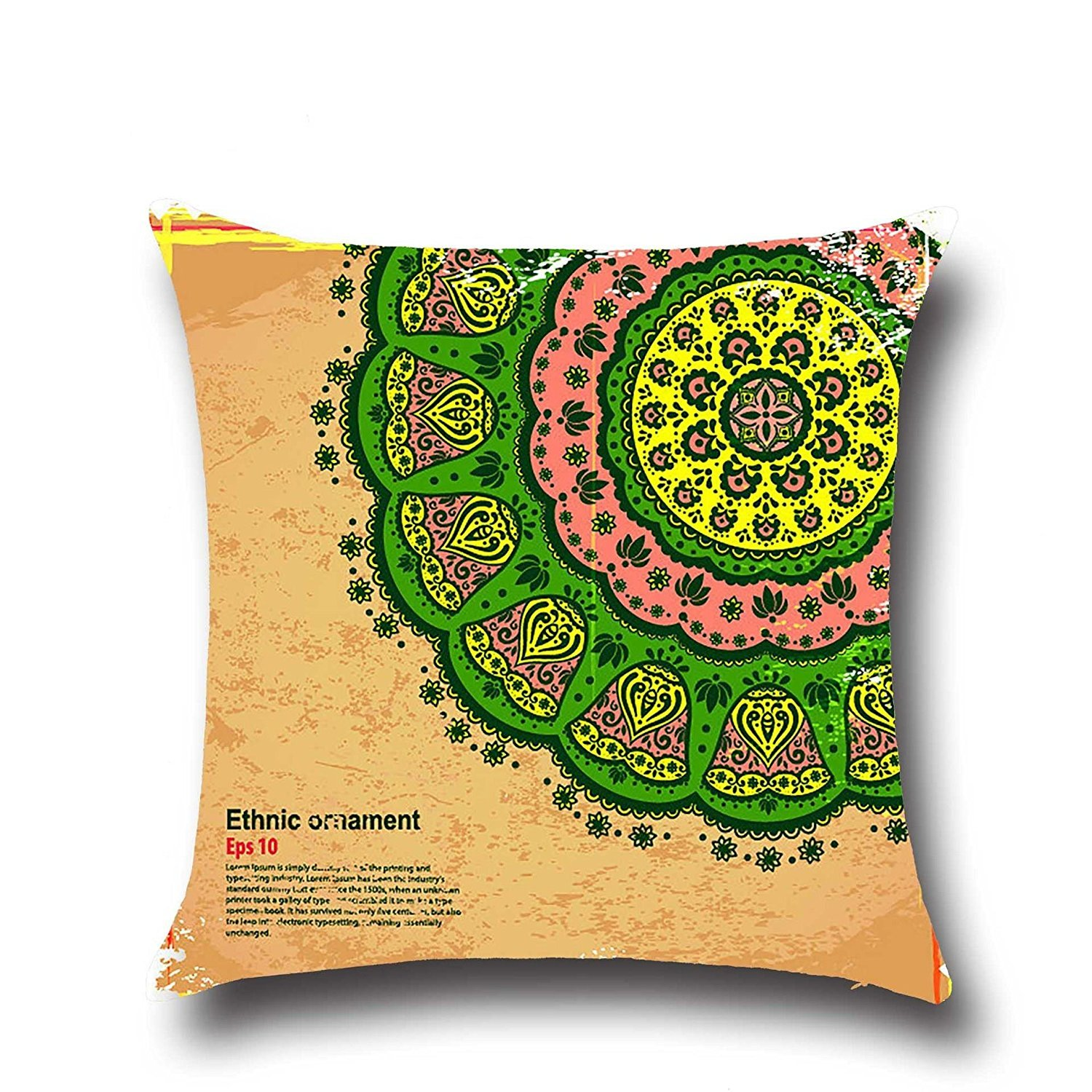 HOMEE Stylish and Fantastic Sunset Shanshui Flower-Pattern Cambodia and Thailand India Southeast Asia Style ,4545Cm,01 Pillow,03,4545cm