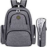 S-ZONE Upgraded Baby Diaper Bag Travel Backpack Anti-water with Changing Pad and Stroller Straps(Grey-with Insulated Sleeve)