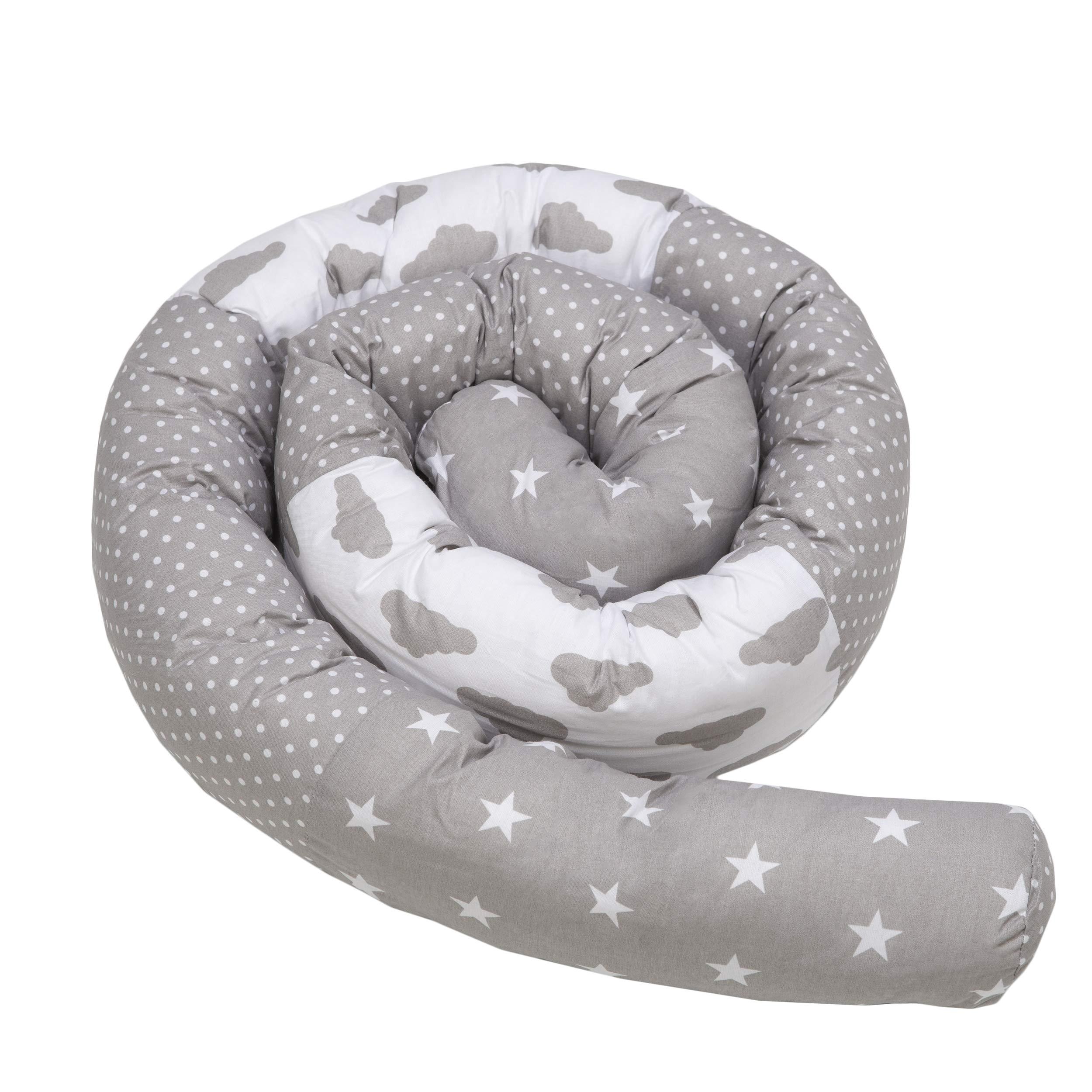 Cojín para Cuna 210cm Bebé Parachoques Rollo Antialérgico Algodón Vivero Serpiente Lumbar Nido Protector Rollo de