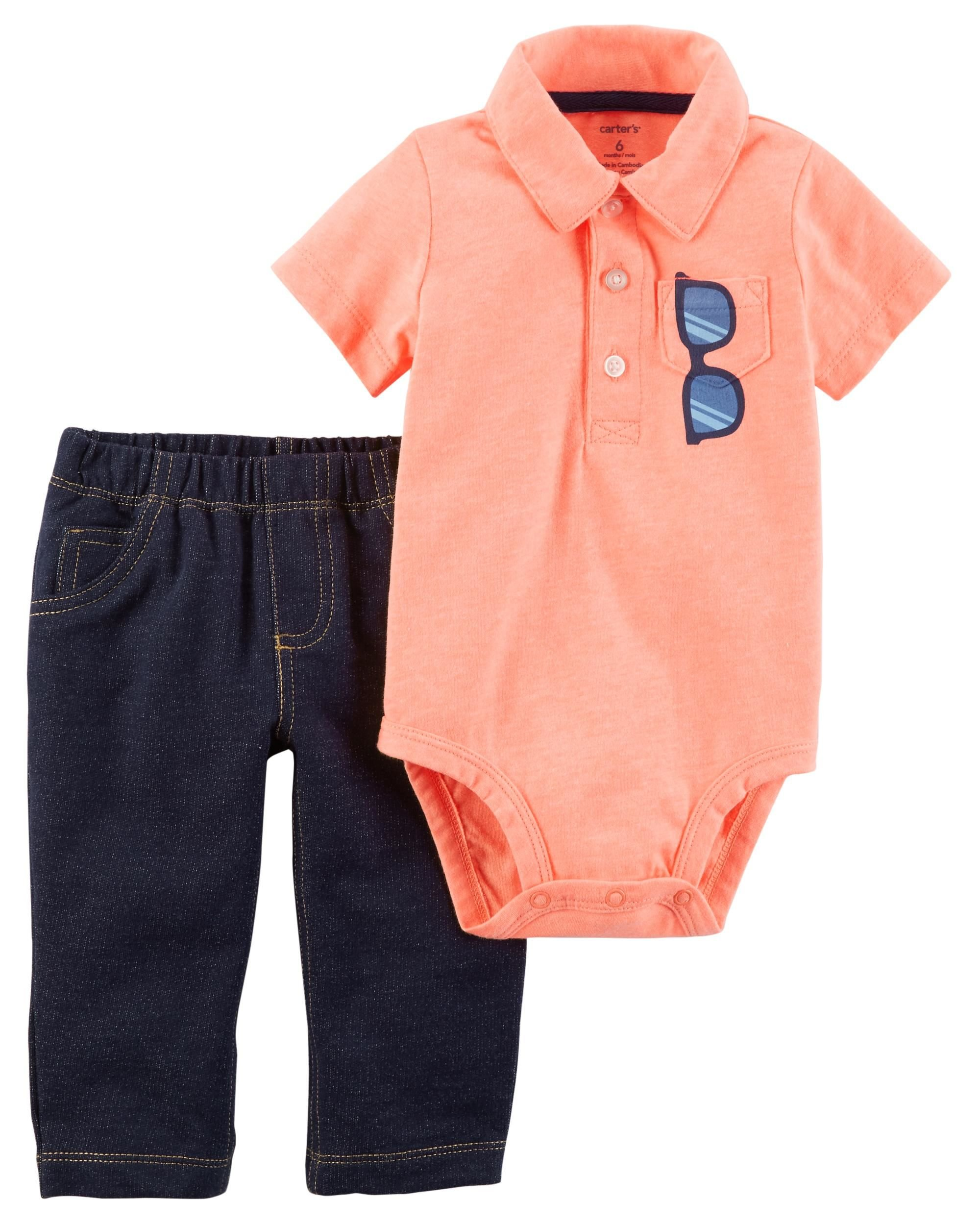 Carter's Baby Boys' 2 Piece Neon Sunglass Bodysuit and Pants Set 3 Months