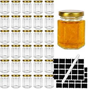Hexagon Glass Jars with Gold Lids, 30pcs 3oz Canning Jars for Jam Honey Jelly Candy Candle Wedding Favors Baby Shower Favors Spice Jars Crafts with 40 chalkboard stickers and one pen for labeling