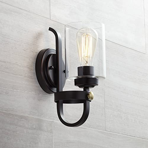 Eagleton Rustic Farmhouse Industrial Wall Light Sconce LED Oiled Bronze Hardwired 12″ High Fixture Clear Glass Bedroom Bathroom Bedside Living Room Home Hallway Dining Kitchen