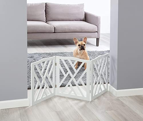 Zoogamo 3 Panel White Wood Crisscross Top Dog Pet Gate – Durable Lightweight Extra Wide Wooden Expandable Folding Home Indoor Outdoor 45 W x 19 H Dog Safety Fence