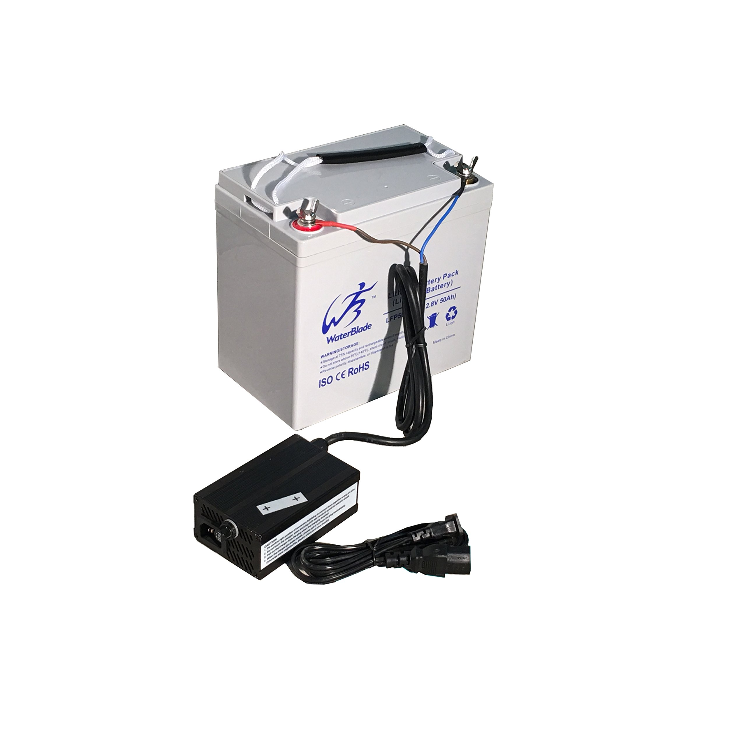 Lithium Battery LifePo4 12V 50Ah ( Includes 10A charger )-Solar-Marine-RV-GolftCart by Waterblade