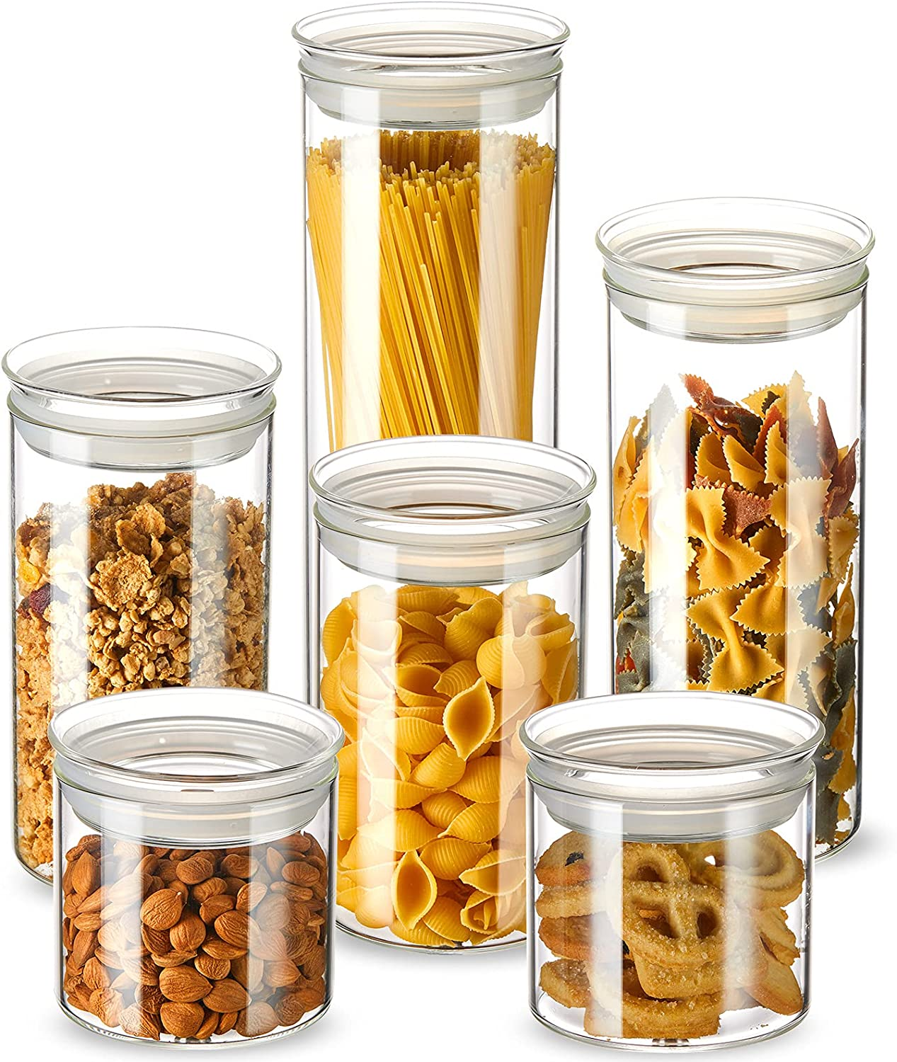 ZENS Glass Canisters Set, Airtight Kitchen Storage Jars with Glass Lids, 6 Pack Clear Cylinder Food Containers with Sealed Silicone Ring for Pasta or Snacks(17oz/32oz/40oz/50oz/65.5oz)
