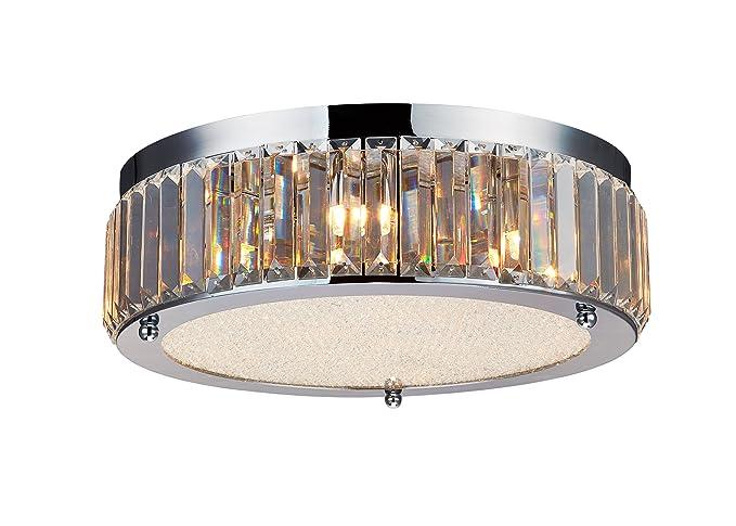 Saint Mossi Modern Drum K9 Crystal Raindrop Chandelier Lighting Flush Mount Led Ceiling Light Fixture Pendant