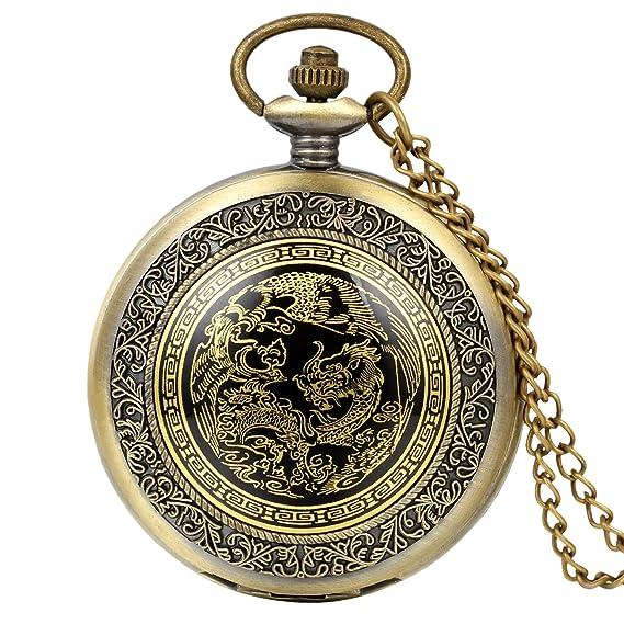 37dbe4be4a86 Avaner Reloj de Bolsillo de Dragon y Fénix Reloj Bronce de Colgante con  Cadena Larga