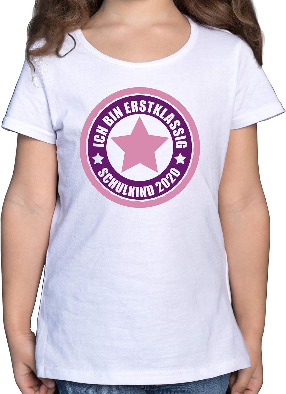Einschulung und Schulanfang Ich Bin erstklassig Shirtracer Schulkind 2020 in rosa M/ädchen Kinder T-Shirt
