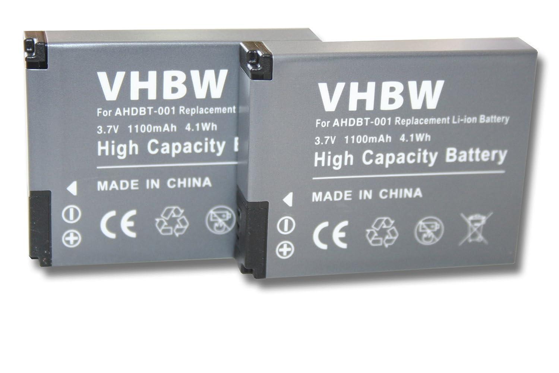 Batteria LI-ION per GoPro HD Hero, GoPro HD Hero 2 sostituisce AHDBT-001, AHDBT-002 vhbw VHBW4250318667907