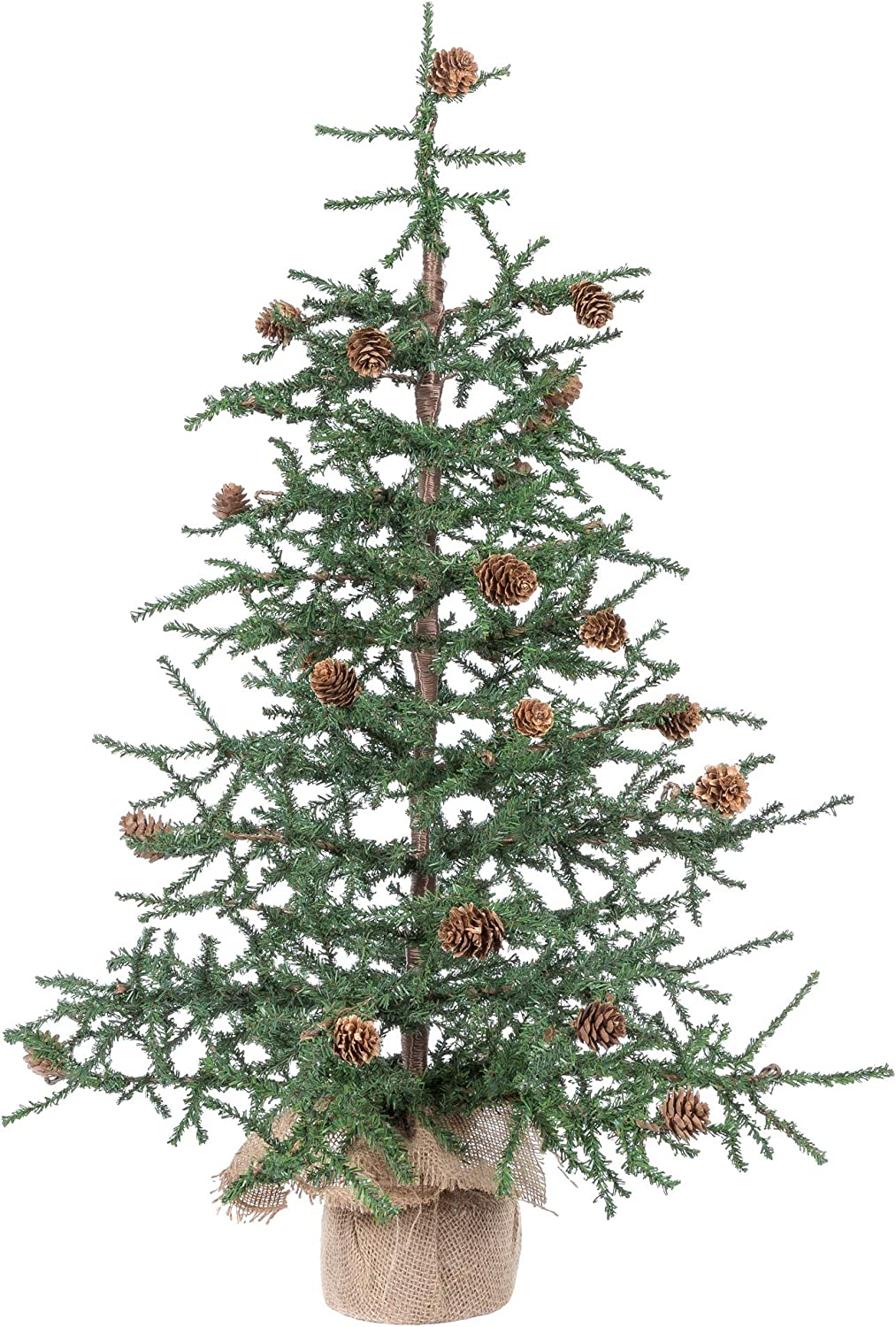 Vickerman Carmel Pine Tree with Burlap Base-Unlit, 42-Inch, Green