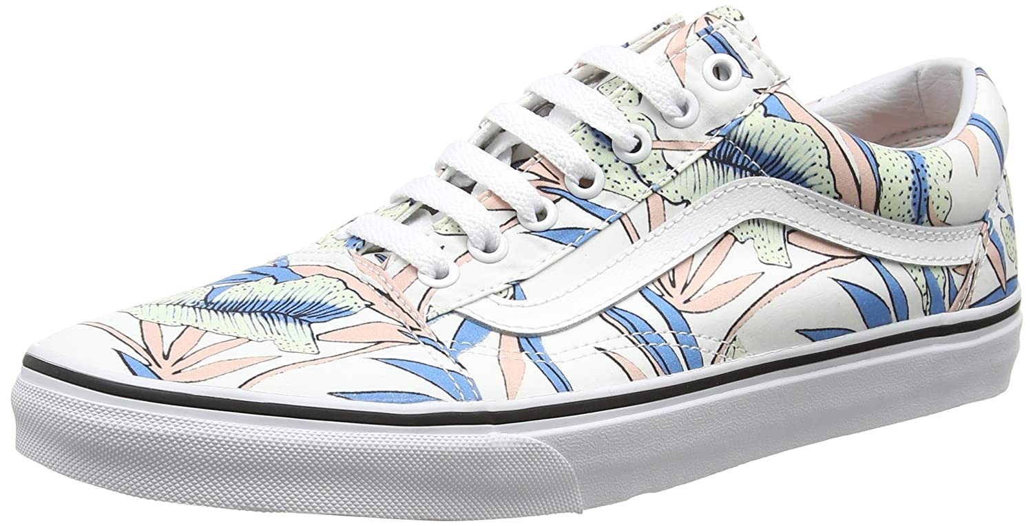 Vans Unisex Old Skool Classic Skate Shoes B01I3Y2TRQ 5.5 M US Women / 4 M US Men|Tropical Leaves/True White
