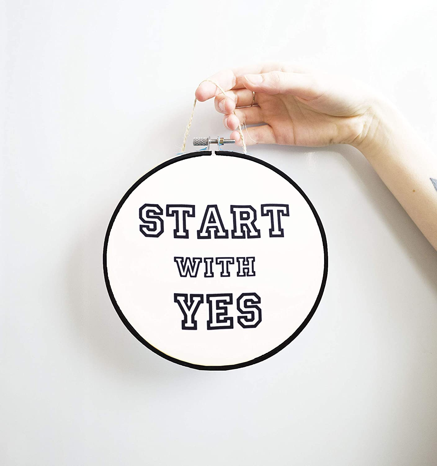 Amazon Com Start With Yes Quotes Hoop Art Motivational Poster Tumblr Room Decor Aesthetic Gift Inspirational Sign Canvas Wall Handmade