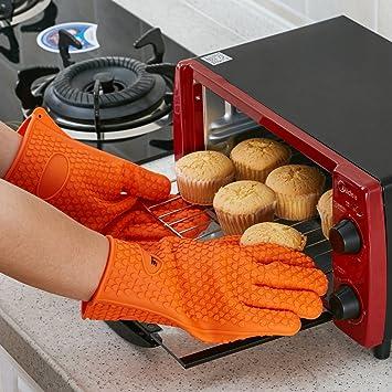 GWHOLE guantes de silicona resistente al calor para Barbacoas, hornear, y manipular agua hirviendo: Amazon.es: Jardín