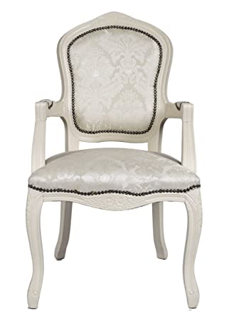 Derrys Louis Antique Style French Armchair In Damask, Wood, Ivory