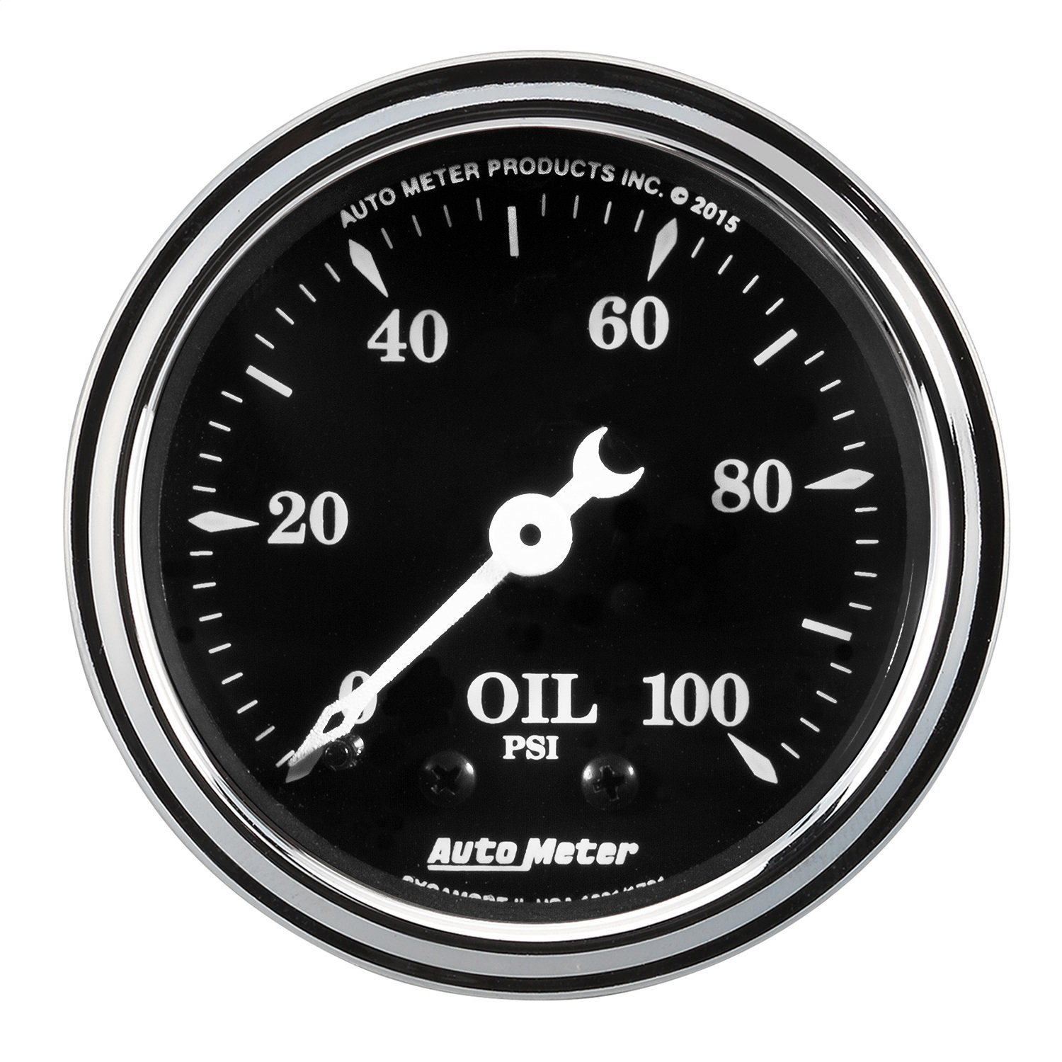 AutoMeter 1721 Old Tyme Black Mechanical Oil Pressure Gauge 2-1/16 in. Black Dial Face White Pointer White Incandescent Lighting Mechanical 0-100 PSI Old Tyme Black Mechanical Oil Pressure Gauge Auto Meter