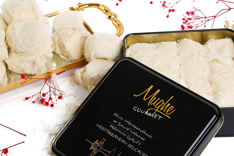 Mughe Luxury Turkish Cotton Candy Pismaniye Sweet (12 Fluffs) - Special Halva Candy Gift Box - Gourmet Confectionery Pishmaniye - Traditional Floss Halvah Gifts